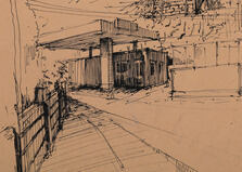 drawing gasoline station